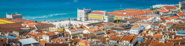 lisbon aerial panorama over praca do comercio iconic square portugal - cristo rei lisboa imagens e fotografias de stock