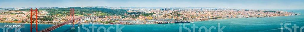 Lisbon aerial super panorama Abril 25 Bridge to Alfama Portugal stock photo