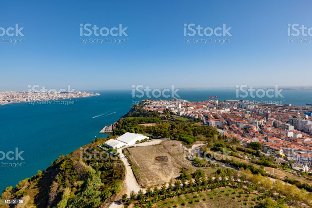 lisbon almada aerial view, portugal stock photo