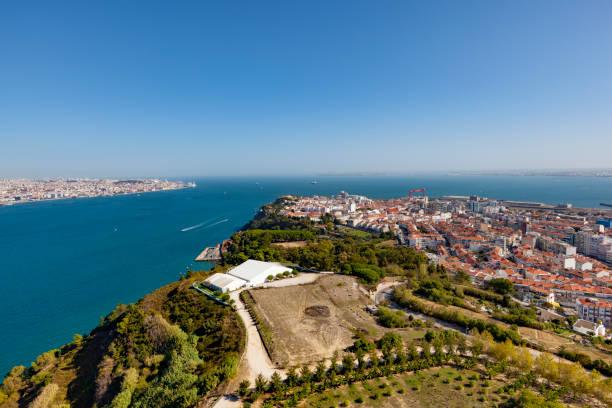 lisbon almada aerial view, portugal - cristo rei lisboa imagens e fotografias de stock