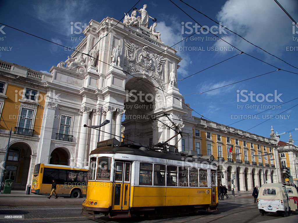 Lisbon and its famous yellow tram royalty-free stock photo
