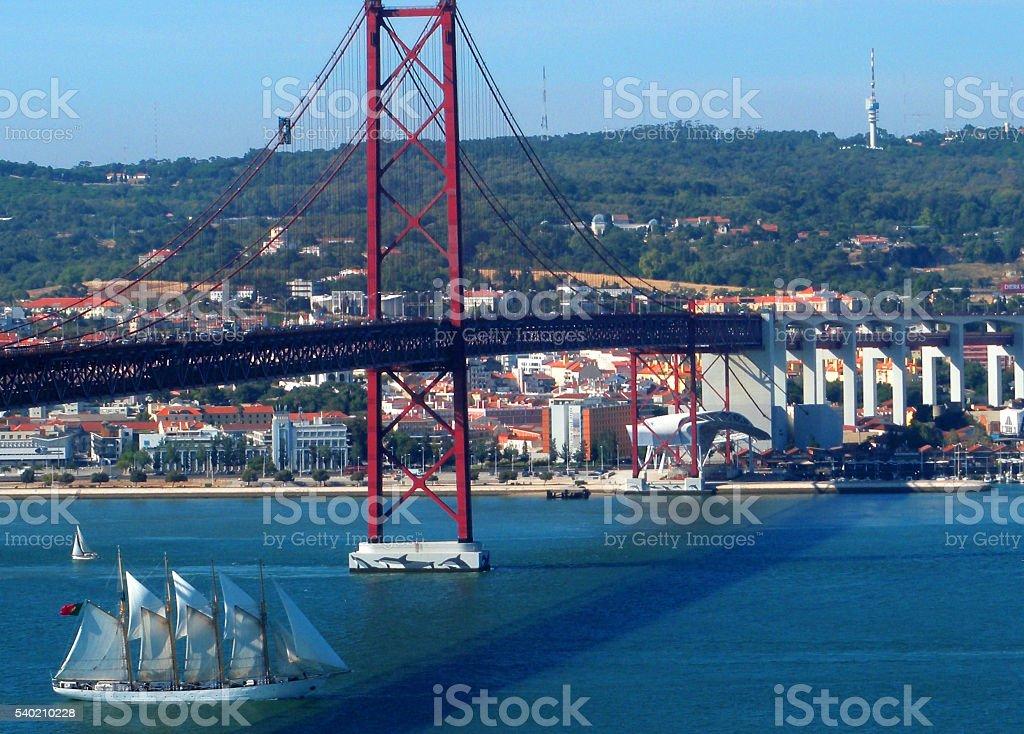 Lisbon and the bridge to Almada over the river Tagus stock photo