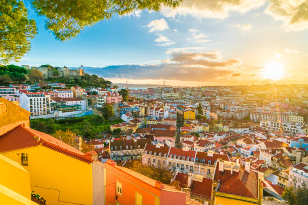 Lisbon at sunset,  Portugal Panoramic view of Lisbon at sunset,  Portugal iberian stock pictures, royalty-free photos & images
