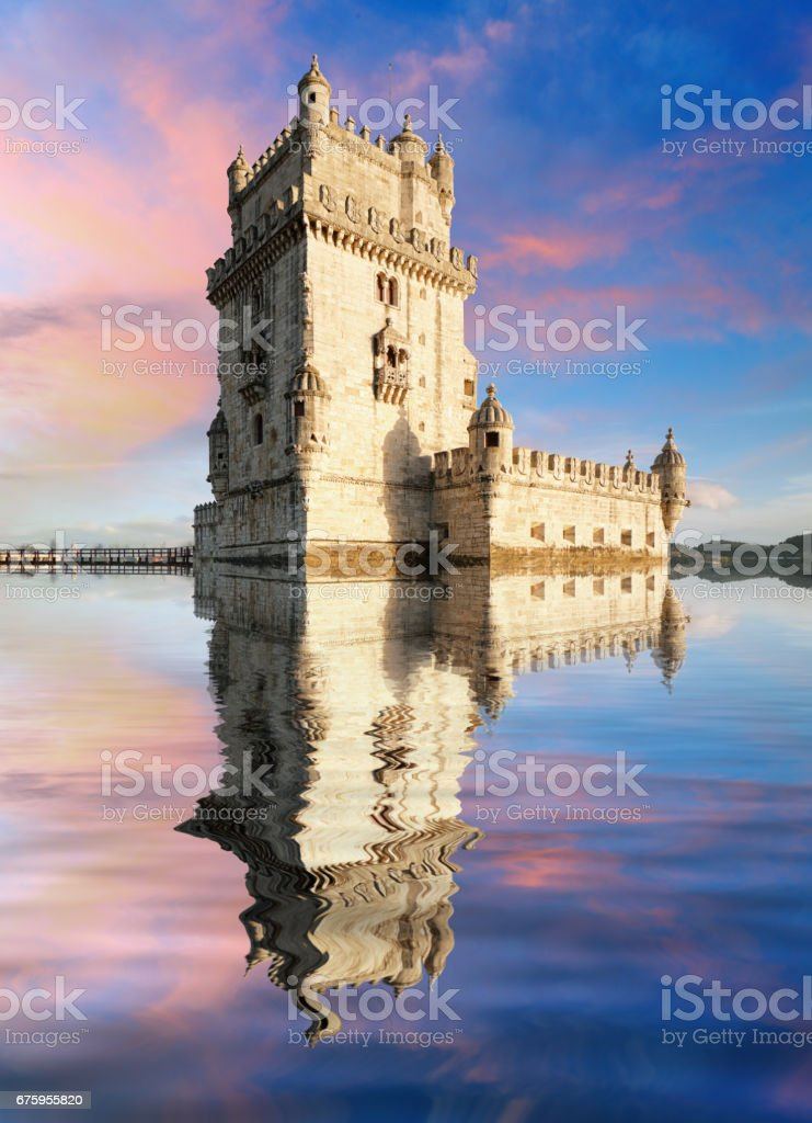Lisbon,  Belem Tower - Tagus River, Portugal stock photo