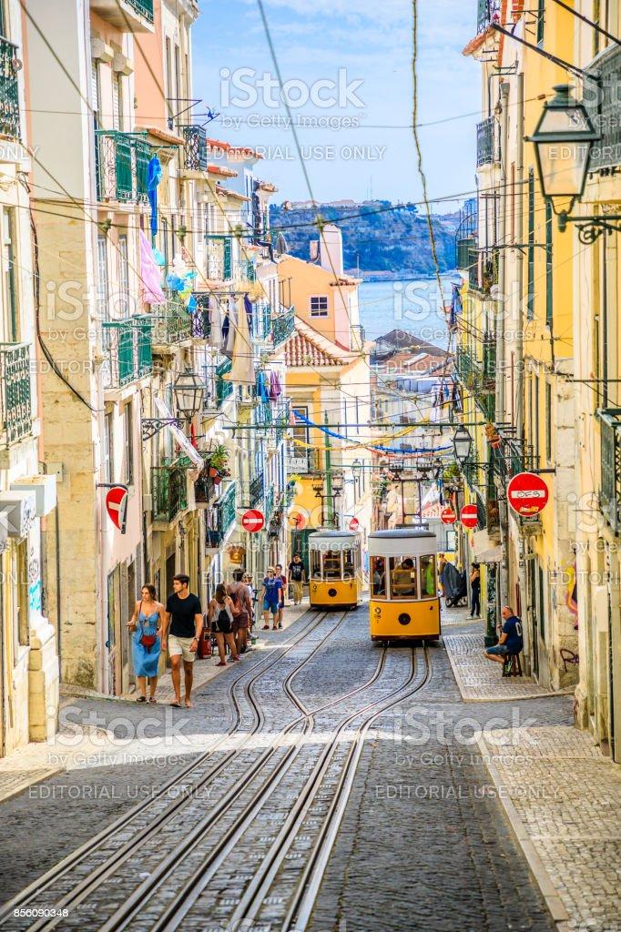 Lisbon Bica Funicular stock photo