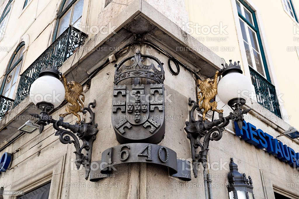 Lisbon Building Corner Decorations royaltyfri bildbanksbilder