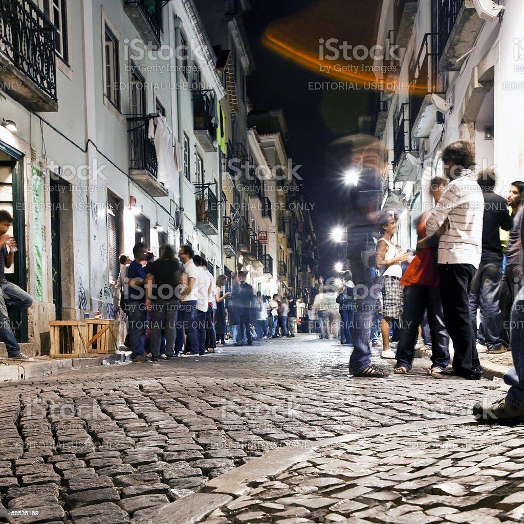 Lisbon by night. stock photo
