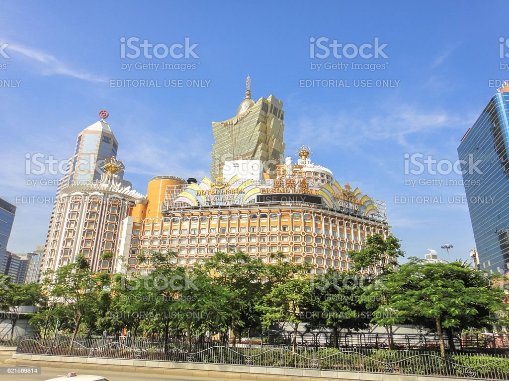Lisboa casino in Macau foto stock royalty-free