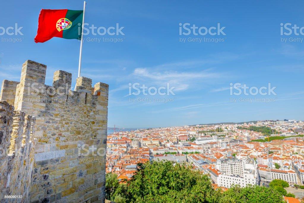 Lisbon Castle aerial - fotografia de stock