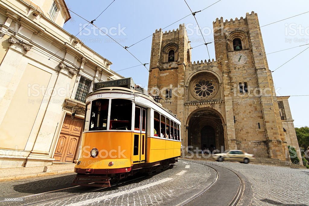 Lisbon Cathedral and tram stock photo