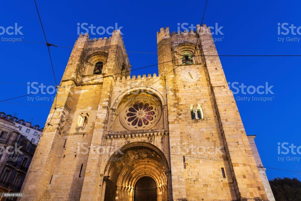 Lisbon Cathedral at night stock photo