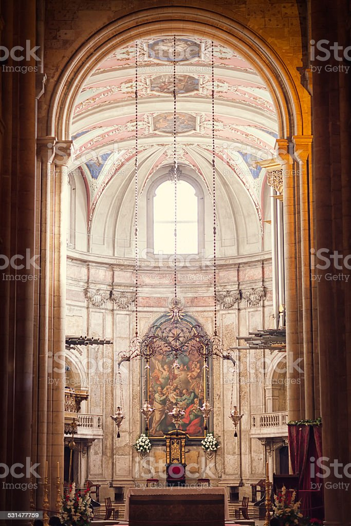 Lisbon cathedral interior stock photo