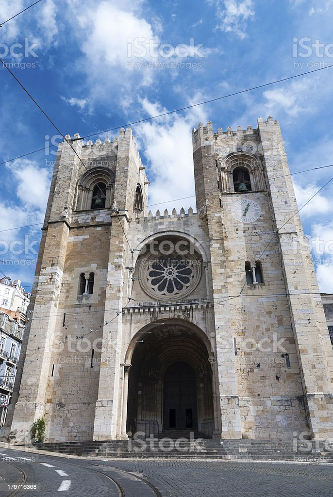 Lisbon cathedral stock photo