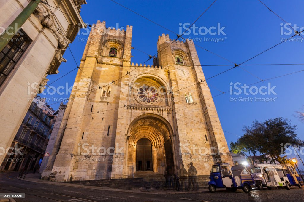 Lisbon Cathedral seen at night stock photo