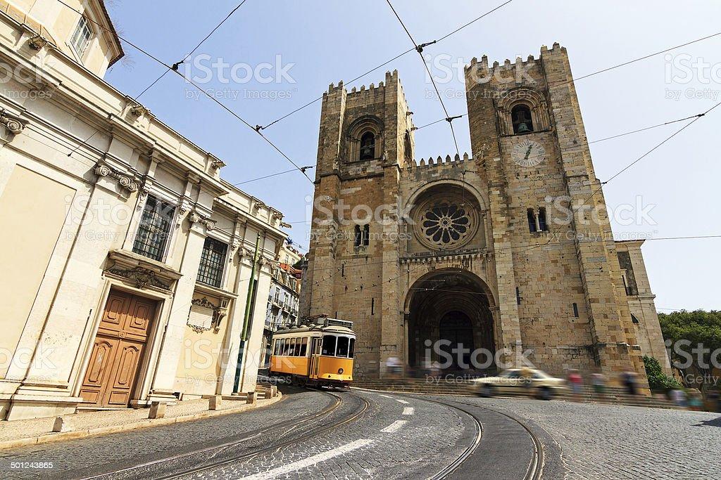 Lisbon Cathedral street scene stock photo