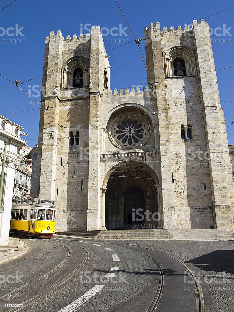 Lisbon Cathedral With Streetcar stock photo