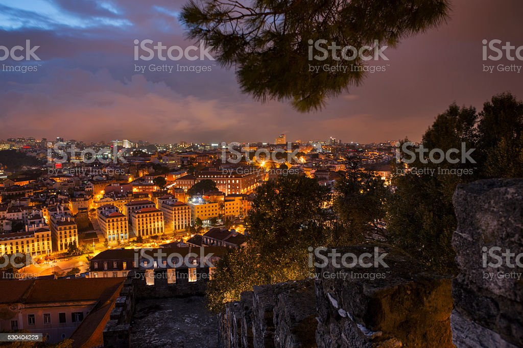 Lisbon city at night from above stock photo