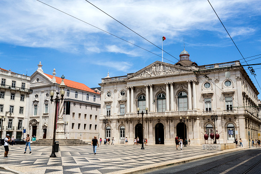 Wide view of Municipal Square and the City Hall building, in Lisbon, Portugal