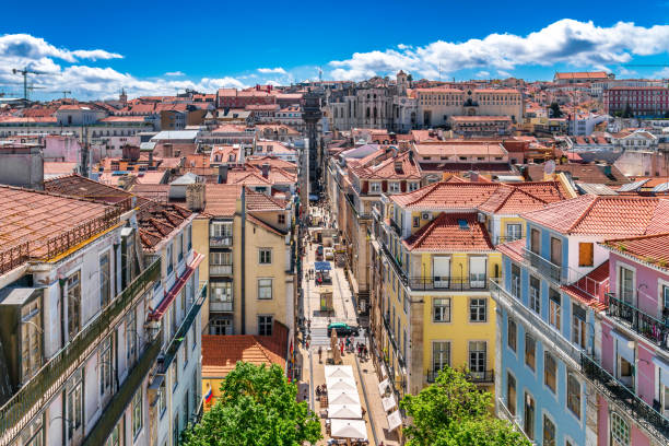 lisbon cityscape - portugal - lisbona foto e immagini stock