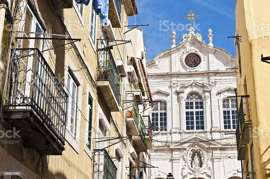 Lisbon colorful villas framing church Bairro Alto Portugal stock photo
