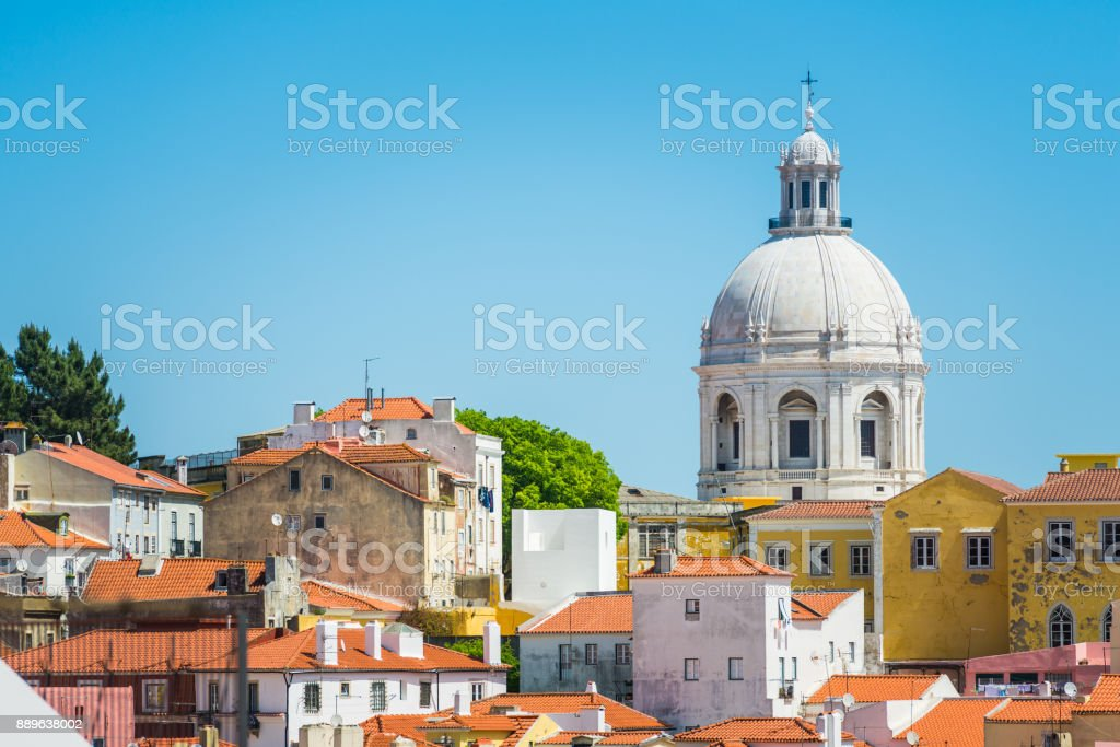 Lisbon dome of the National Pantheon overlooking Alfama rooftops Portugal stock photo