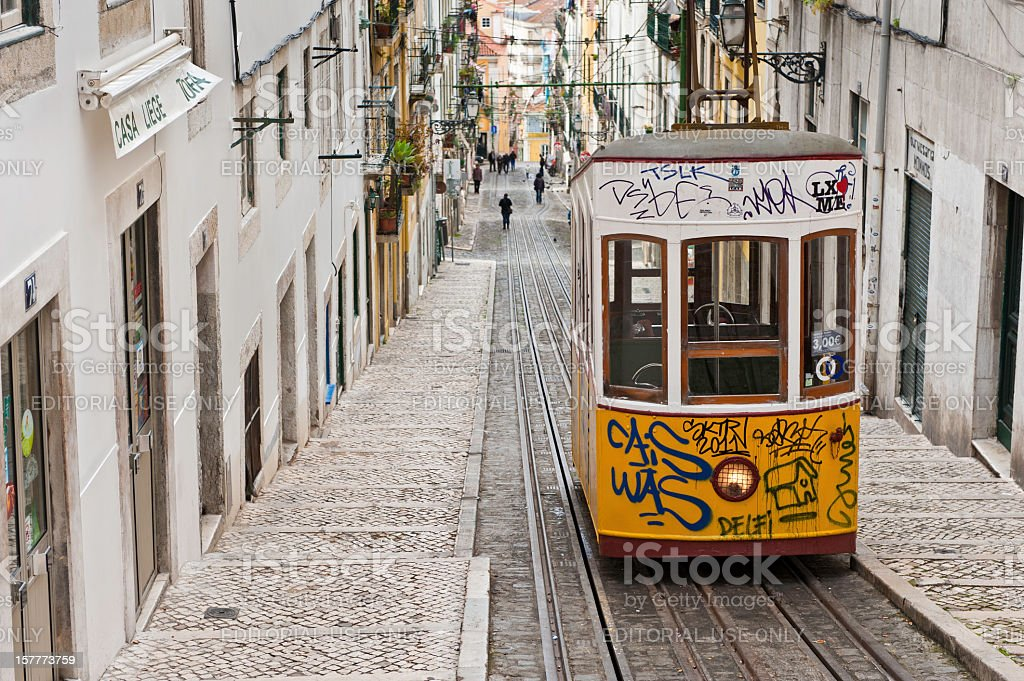 Lisbon electric funicular tram Bairro Alto Portugal stock photo
