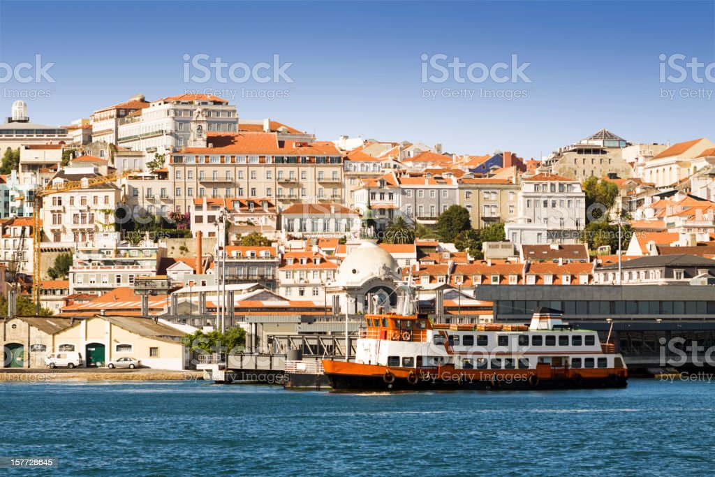 Lisbon from the Tagus river. stock photo