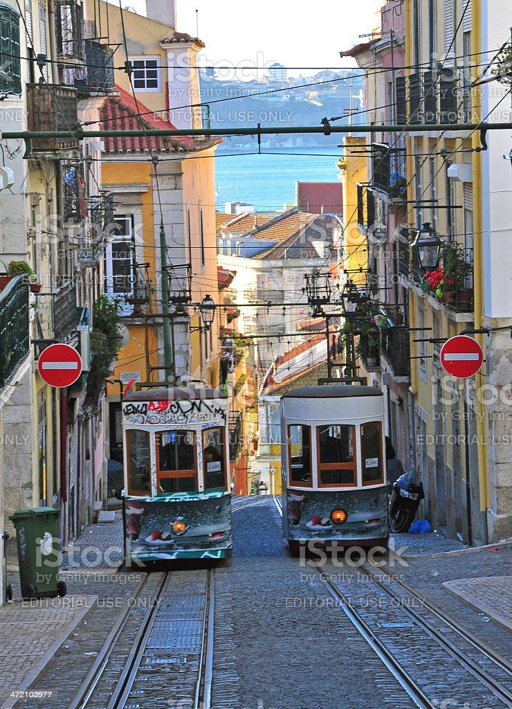 Lisbon funiculars stock photo