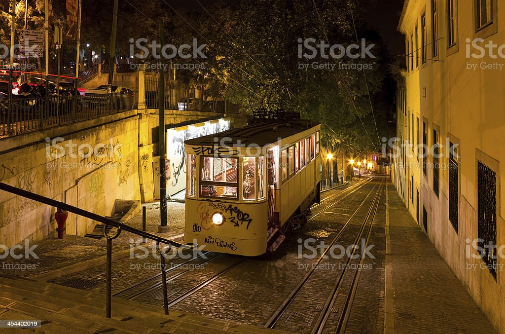 Lisbon Gloria Funicular Night Shot royalty-free stock photo