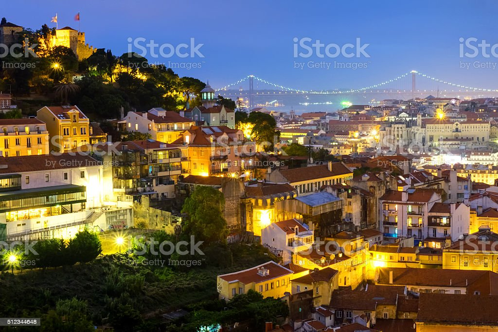 Lisbon in Portugal at night stock photo
