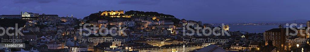 Lisbon landmarks illuminated panorama stock photo