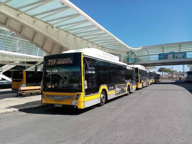 lisbon local bus at lisbon oriente train station in portugal europe - resultados lisboa imagens e fotografias de stock