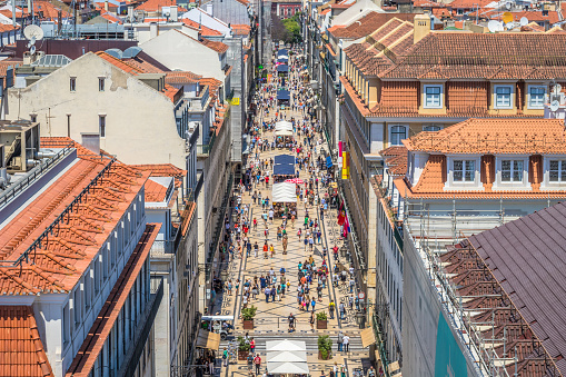 Lisbon Main Old Street Stock Photo - Download Image Now