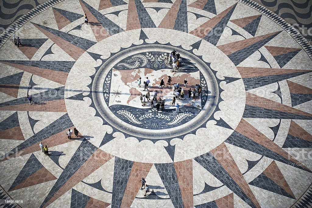 Lisbon mosaic Compass rose with world map stock photo
