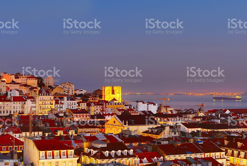 Lisbon Old Town at twilight royalty-free stock photo