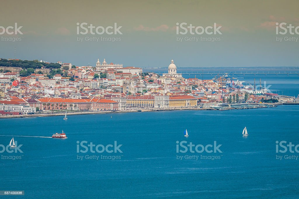 Lisbon on the Tagus river bank, central Portugal stock photo