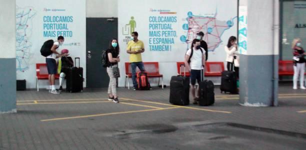 lisbon oriente bus station in portugal europe, people waiting for bus - resultados lisboa imagens e fotografias de stock