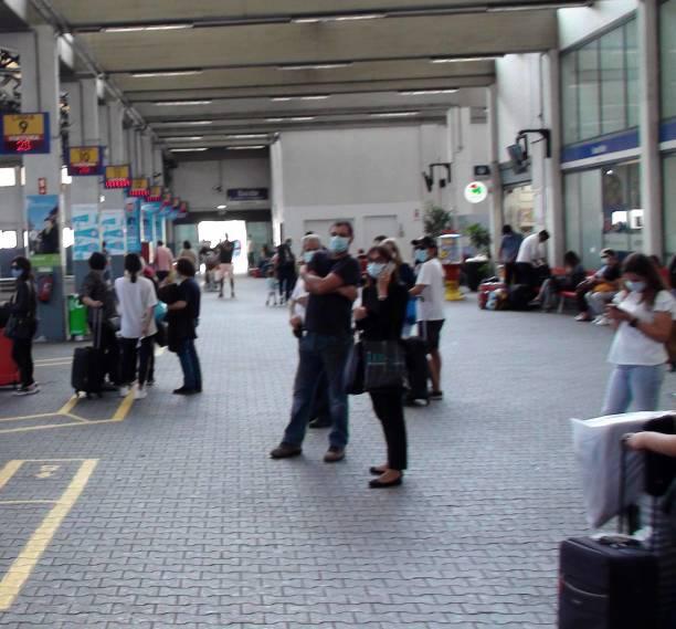 lisbon oriente bus station in portugal europe, people waiting for bus scene - resultados lisboa imagens e fotografias de stock