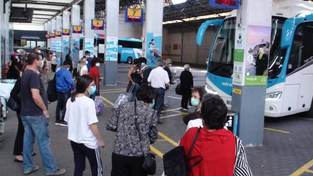 lisbon oriente bus station in portugal, people waiting for bus scene - resultados lisboa imagens e fotografias de stock