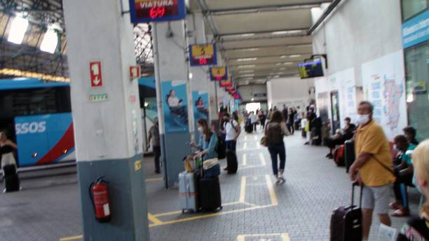 lisbon oriente bus station in portugal, people waiting for bus scenery - resultados lisboa imagens e fotografias de stock
