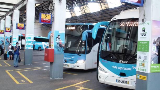 lisbon oriente bus station in portugal, people waiting for bus view - resultados lisboa imagens e fotografias de stock