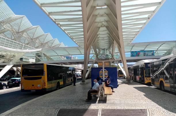 lisbon oriente train station in portugal, people waiting for bus view - resultados lisboa imagens e fotografias de stock