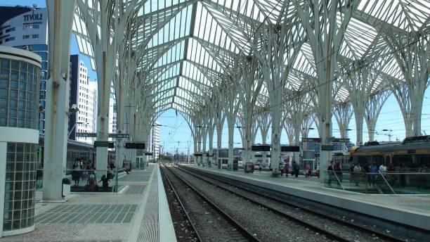 lisbon oriente train station, portugal, europe, people waiting for train scene - resultados lisboa imagens e fotografias de stock