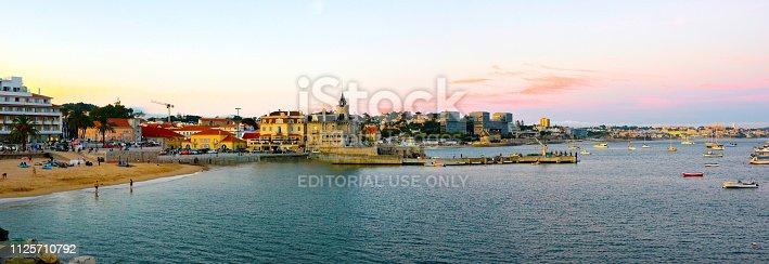 istock Lisbon outskirts, Estoril and Cascais Coastline at Sunset, Sand Beach Bay 1125710792