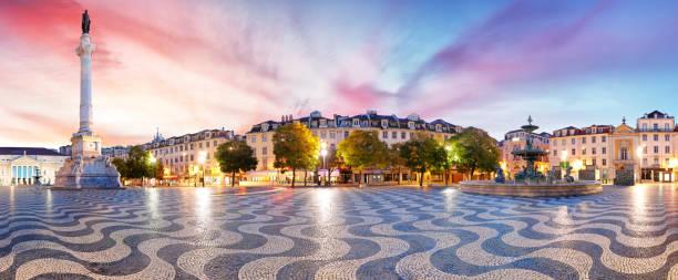 lisbon panorama in rossio square, portugal - lisbona foto e immagini stock