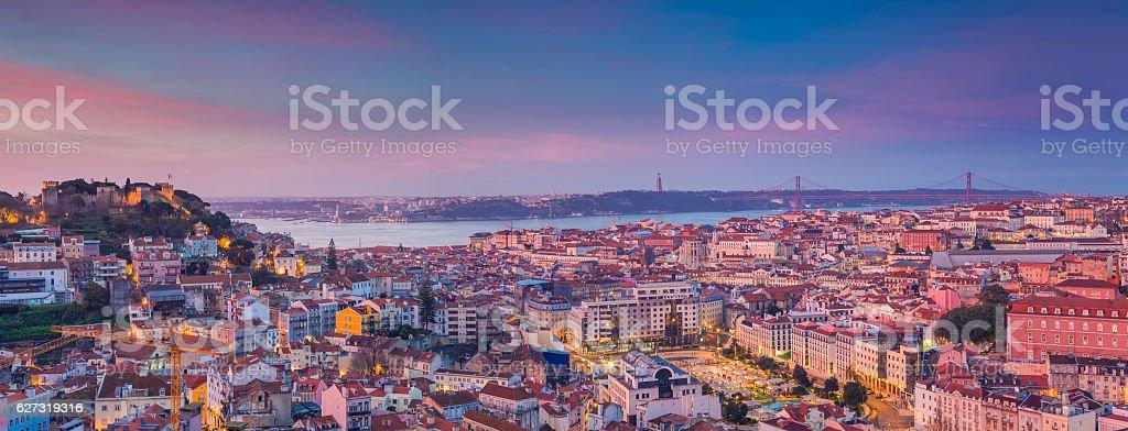 Lisbon Panorama Sunrise. stock photo