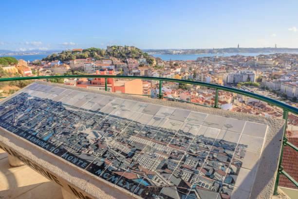 lisbon panorama viewpoint - cristo rei lisboa imagens e fotografias de stock
