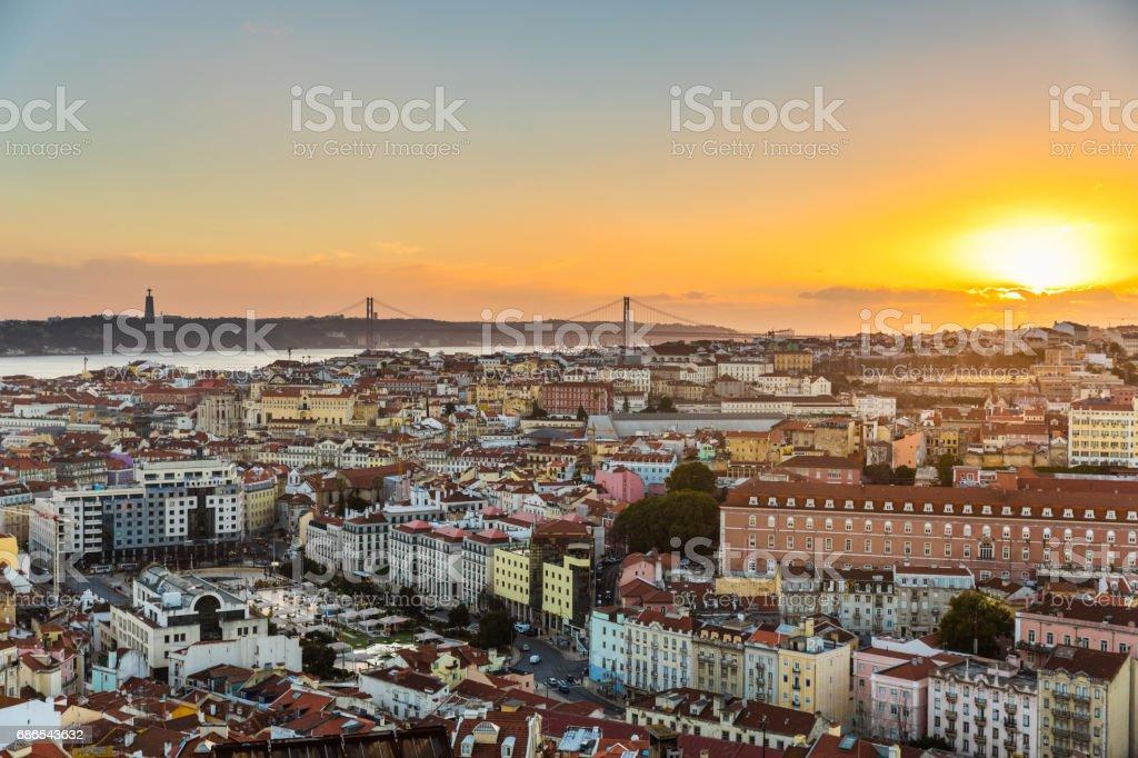Lisbon panoramic view at sunset foto de stock libre de derechos