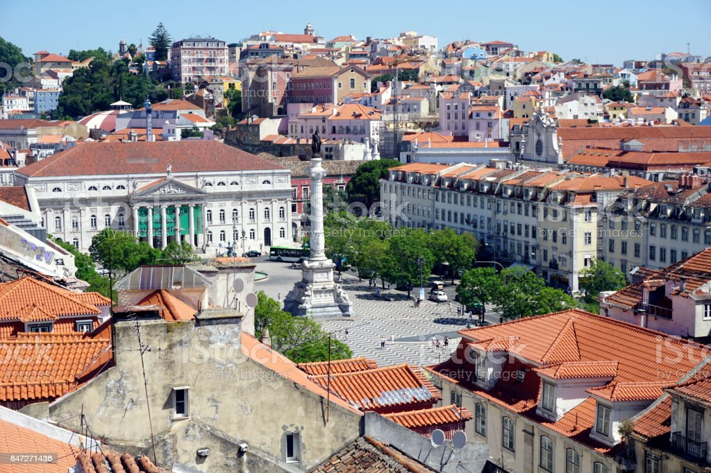 Lisbon, panoramic view of the Rossio square from above, from the Santa Giusta lift stock photo