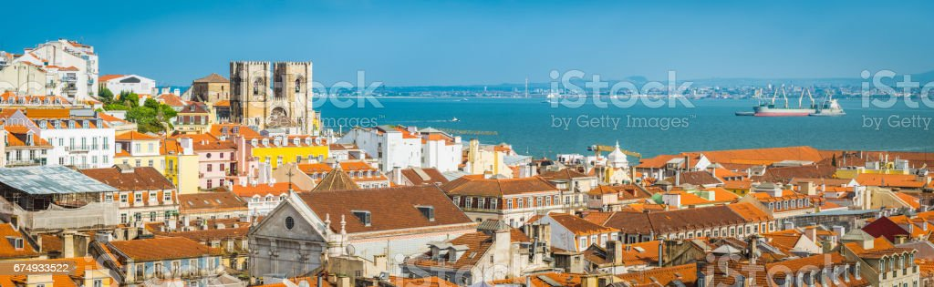 Lisbon panoramic view over Baixa rooftop Se Cathedral Tagus Portugal stock photo